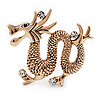 Gold Plated 'Dragon' Brooch - 4.3cm Length