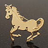 Gold Plated Galloping Horse Brooch - 4.5cm Length