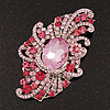 Large Victorian Style Pink/Fuchsia Crystal Brooch In Silver Plating - 10cm Length