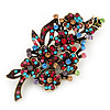 Large Multicoloured 'Bunch Of Flowers' Brooch In Antique Gold Plating - 10cm Length