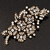 Large Clear 'Bunch Of Flowers' Brooch In Burn Gold Finish - 10cm Length