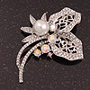 Bridal AB & Clear Crystal Floral Brooch In Silver Plating - 8cm Length