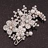 Bridal White Simulated Pearl & Clear Crystal Floral Brooch In Silver Plating - 6.5cm Length