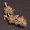 Swarovski Crystal Floral Brooch (Silver&Light Citrine) - 5.5cm Length
