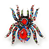 Large Multicoloured Crystal Spider Brooch In Antique Gold Finish - 6cm Length