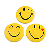 3pcs Happy Smiling Face with Red Heart Lapel Pin Button Badge - 3cm Diameter