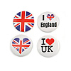 4pcs 'I Heart Love England' Lapel Pin Button Badge - 3cm Diameter