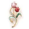 Pink Enamel Diamante 'Tulip' Brooch In Gold Finish - 5cm Length