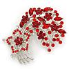 Red/Burgundy Crystal 'Floral' Brooch In Silver Plating - 7cm Length