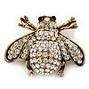 Swarovski Crystal Bee Brooch (Burn Gold Metal) - 4.5cm Length