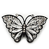 Sparkling Diamante 'Butterfly' Brooch In Gun Metal - 5.5cm Length