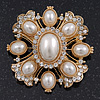 Victorian Style Simulated Pearl/Crystal Bridal Brooch In Gold Plating - 5cm Length