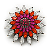Clear/Orange/Magenta Diamante Corsage Vintage Brooch In Bronze Metal - 4.5cm Diameter