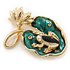 Small 'Frog On The Lotus Leaf' Brooch In Gold Plated Metal - 4.5cm Length