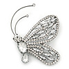 Gigantic Clear Glass Crystal 'Butterfly' Brooch In Gun Metal -  9cm Length