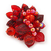 Handmade Red Acrylic Bead Cluster Brooch - 5.5cm Length