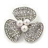 Fancy Diamante Simulated Pearl Brooch In Silver Plating - 4cm Diameter