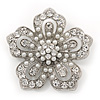 Filigree Pear/Diamante 'Flower' Brooch In Silver Plating - 5cm Diameter