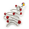 Silver Plated Red Crystal 'Christmas Tree' Brooch - 5.5cm Length