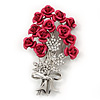 Pink 'Bunch Of Roses' Diamante Brooch In Silver Plating - 6.5cm Length