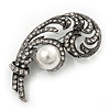 Vintage Diamante Simulated Pearl 'Feather' Brooch In Antique Silver Finish - 5.5cm Length