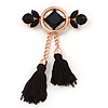 Long Black Glass,Tassel Brooch In Gold Plating - 12.5cm Length