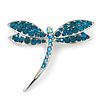Classic Teal Green Swarovski Crystal Dragonfly Brooch In Rhodium Plating - 6.5cm Length
