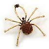 Large Amber Coloured Swarovski Crystal 'Spider' Brooch In Gold Plating - 6.5cm Length