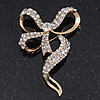 Dazzling Diamante 'Bow' Brooch In Gold Plated Metal - 7cm Length
