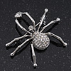 Ice Clear 'Spider' Brooch In Rhodium Plating - 4.5cm Length