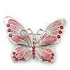Pink Diamante Enamel 'Butterfly' Brooch In Rhodium Plating - 5cm Length