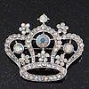 Clear & AB Crystal 'Queenie' Crown Brooch In Rhodium Plated Metal - 5cm Length