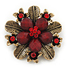 'Botanica' Flower Brooch In Antique Gold Finish Crystal/Stone (Red) - 5.5cm Diameter