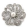 Bridal Clear Diamante 'Flower' Brooch In Rhodium Plating - 4.8cm Diameter