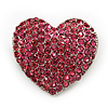 Pink Swarovski Crystal Pave Set 'Heart' Brooch In Silver Plating - 3.5cm Length