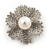Clear Crystal Bridal 'Flower' Brooch In Rhodium Plating - 4cm Diameter