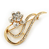 Gold Plated Simulated Pearl/ Crystal Flower Bridal Brooch - 6cm Length