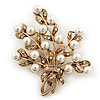 White Simulated Pearl/ Clear Crystal Floral Brooch In Gold Plating - 6cm Length