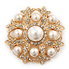 Bridal Swarovski Crystal/ Simulated Pearl Corsage Brooch In Gold Plating - 5cm Diameter