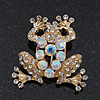 Clear/AB Crystal 'Frog' Brooch In Gold Plating - 3.5cm Length