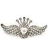 'Crown & Wings' Simulated Pearl/ Crystal Brooch In Rhodium Plating - 6cm Length