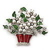 'Basket With Christmas Bouquet' Red/Green Enamel Simulated Pearl Brooch In Silver Plating - 5.5cm Length
