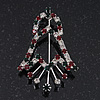 Red/Green/White Christmas Crystal Jingle Bell Brooch In Silver Plating - 5.5cm Length