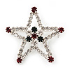 Red/Green/White Crystal 'Christmas Star' Brooch In Silver Plating - 4.5cm Length