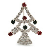 Green/Red/White Crystal 'Christmas Tree' Brooch In Silver Plating - 4.5cm Length