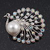 Unique AB Crystal/ Simulated Pearl 'Peacock' Brooch In Silver Plating - 5cm Length