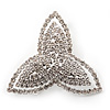 Rhodium Plated Swarovski Crystal 'Trefoil Dreams' Brooch - 5cm Diameter