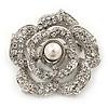 Romantic Swarovski Crystal 'Rose' Brooch In Silver Plating - 4cm Diameter