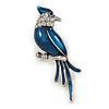 Dark Blue Enamel Exotic 'Bird' Brooch In Rhodium Plating - 5.5cm Length