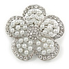 Wedding Simulated Pearl Diamante 'Flower' Brooch In Rhodium Plating - 4.5cm Diameter